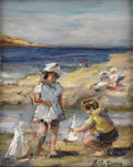 Paintings, PAUL MICHEL DUPUY (French 1869-1949). At the Beach. Oil on artistboard. 8-7/8 x 7-1/8 inches (22.5 x 18.1 cm). Signe...