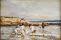 Paintings, PAUL MICHEL DUPUY (French 1869-1949). Wading in the Water. Oil on canvas. 8 x 12 inches (20.3 x 30.5 cm). Signed lower r...