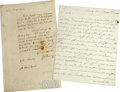 "Autographs:Statesmen, Two 18th Century Autograph Letters Signed by Prominent Americans,as follows: James Duane ALS, ""Jas. Duane, one pa... (Total:2 Items)"