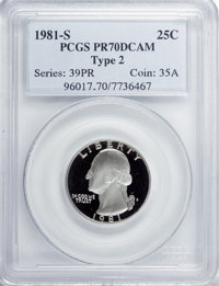 1981-S 25C Type Two PR70 Deep Cameo PCGS....(PCGS# 96017)