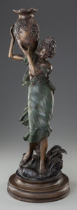 Fine Art - Sculpture, American, FRENCH SCHOOL (19th Century). Woman with Urn. Bronze withgreenish-brown patina. 25-1/2 inches (64.8 cm) high. ...