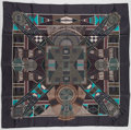 "Luxury Accessories:Accessories, Hermes 90cm Grey & Green ""L'Art Indien Des Plaines,"" by Sophie Koechlin Silk Scarf. Excellent Condition. 36"" Width x 3..."