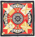 "Luxury Accessories:Accessories, Hermes 90cm Red, Black & Gold ""Sextants,"" by Loïc Dubigeon SilkScarf. Very Good to Excellent Condition. 36"" Length x..."
