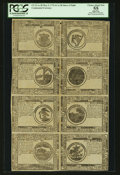 Colonial Notes:Continental Congress Issues, Continental Currency Counterfeit Detector May 9, 1776 $1-$2-$3-$4-$5-$6-$7-$8 Uncut Sheet of Eight PCGS Apparent Choice About ...