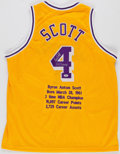 "Basketball Collectibles:Uniforms, Byron Scott ""3x Champ"" Signed Los Angeles Lakers Jersey...."