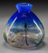 INTERNALLY DECORATED ART GLASS VASE WITH DRAGONFLY MOTIF, 20th century 6 inches high (15.2 cm)  PROPERTY FRO