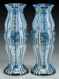 Pair of Austrian Secessionist Enameled Glass Vases Circa 1900-1910. Marked G (in scalloped rectangle)