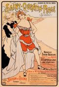 Prints, FERDINAND SIGISMUND BAC (German, 1859-1952). Saint-Quentin-Plage, 1897. Color poster. 46-1/2 x 31 inches (118.1 x 78.7 c...