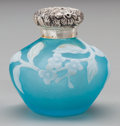 Glass, MINIATURE THOMAS WEBB CAMEO GLASS FLORAL PERFUME BOTTLE WITH SILVER MOUNTS, circa 1880. 1-5/8 inches high (4.1 cm). PROPER...