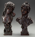 Sculpture, MATCHED PAIR OF FRENCH ART NOUVEAU BRONZE BUSTS OF NYMPHS,. 17 inches (43.2 cm) high, each, one inscribed: Te Tour / Du / ... (Total: 2 Items)