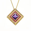 Estate Jewelry:Necklaces, Amethyst, Ruby, Gold Pendant-Necklace. ...