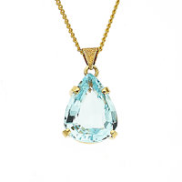 Aquamarine, Gold Pendant-Necklace