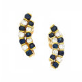 Estate Jewelry:Earrings, Diamond, Sapphire, Gold Earrings. ...