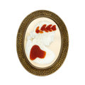 Estate Jewelry:Brooches - Pins, Hardstone Cameo, Yellow Metal Brooch. ...