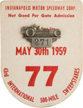 Miscellaneous Collectibles:General, 1959 Indianapolis 500 Badge and Card....