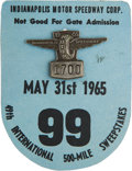 Miscellaneous Collectibles:General, 1965 Indianapolis 500 Badge and Card....