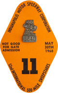 Miscellaneous Collectibles:General, 1968 Indianapolis 500 Badge and Card....