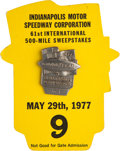 Miscellaneous Collectibles:General, 1977 Indianapolis 500 Badge and Card....