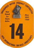 Miscellaneous Collectibles:General, 1960 Indianapolis 500 Badge and Card....