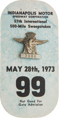 Miscellaneous Collectibles:General, 1973 Indianapolis 500 Badge and Card....