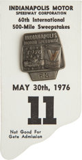 Miscellaneous Collectibles:General, 1976 Indianapolis 500 Badge and Card....