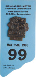 Miscellaneous Collectibles:General, 1980 Indianapolis 500 Badge and Card....
