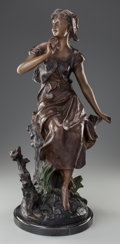 Fine Art - Sculpture, American, After HIPPOLYTE FRANCOIS MOREAU (French, 1832-1927). The Song ofthe Lark. Bronze with brown patina. 24-1/4 inches (61.6...