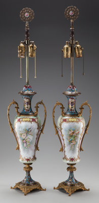 A PAIR OF SEVRES-STYLE PORCELAIN, GILT BRONZE AND CHAMPLEVÉ VASES MOUNTED AS LAMPS, circa 1900 36-1/2 inches high...