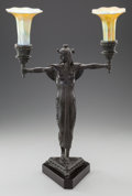 Paintings, AN EGYPTIAN REVIVAL BRONZE AND IRIDESCENT GLASS FIGURAL TWO-LIGHT LAMP, circa 1900. 23-1/2 inches high (59.7 cm). ... (Total: 3 Items)