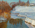Fine Art - Painting, Russian, AMERICAN SCHOOL (Late 20th century). Winter Landscape. Oilon canvas. 24-3/4 x 29-3/4 inches (62.9 x 75.6 cm). Initialle...