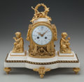 Clocks & Mechanical:Clocks, A NEO-CLASSICAL GILT BRONZE AND MARBLE MANTLE CLOCK, 20th century. 10-3/4 x 12-1/4 x 5-3/8 inches (27.3 x 31.1 x 13.7 cm). ...
