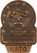 Miscellaneous Collectibles:General, 1971 Indianapolis 500 NATO Bronze Pit Badge....