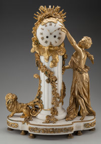 A LOUIS XVI-STYLE GILT BRONZE AND MARBLE FIGURAL MANTLE CLOCK, 19th century 26-1/2 x 19 x 10-1/4 inches (67.3 x 48