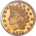 California Fractional Gold , 1872/1 25C Indian Round 25 Cents, BG-868, High R.4, MS66 PCGS....