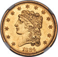 Classic Quarter Eagles, 1834 $2 1/2 MS61 NGC. Breen-6138, Variety 1, R.1....