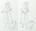Animation Art:Production Drawing, The Black Cauldron Pan Animation Drawing Eilonwy and Hen WenGroup (Walt Disney, 1985).... (Total: 2 Original Art)