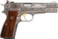 Handguns:Semiautomatic Pistol, Engraved Belgian Browning Louis XVI Hi-Power Semi-Automatic Pistol....