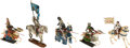 Antiques:Toys, Cast Metal Miniature Knights on Horseback,... (Total: 5 Items)