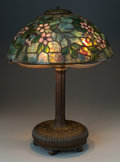 Art Glass:Tiffany , TIFFANY STUDIOS LEADED GLASS AND BRONZE APPLE BLOSSOM TABLELAMP, circa 1910. Marks to base: TIFFANY STUDIOS, ... (Total: 2Items)
