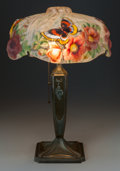 Glass, PAIRPOINT GLASS AND BRONZED METAL BUTTERFLY PUFFY LAMP, circa 1900. Marks: PAIRPOINT MFG. CO., P (within dia... (Total: 2 Items)