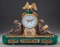 Clocks & Mechanical:Clocks, AN EMPIRE-STYLE GILT AND SILVERED BRONZE AND MALACHITE FIGURAL MANTLE CLOCK, 19th century. 21 x 28 x 5-1/2 inches (53.3 x 71...
