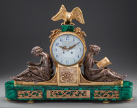 AN EMPIRE-STYLE GILT AND SILVERED BRONZE AND MALACHITE FIGURAL MANTLE CLOCK, 19th century 21 x 28 x 5-1/2 inches (
