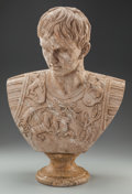 Miscellaneous, AN ITALIAN CARVED GRANITE BUST OF JULIUS CAESAR. 27 x 18 x 6 inches (68.6 x 45.7 x 15.2 cm). ...