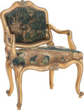 Furniture : French, A LOUIS XV-STYLE UPHOLSTERED AND PAINTED WOOD CHILD'S FAUTEUIL,circa 1850. 27-1/4 x 21-1/4 x 14 inches (69.2 x 54.0 x 35.6 ...