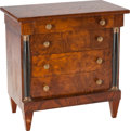 Furniture : Continental, A MINIATURE BIEDERMEIER-STYLE BURL WALNUT COMMODE, late 19th century. 19-1/2 x 19 x 11-1/8 inches (49.5 x 48.3 x 28.3 cm). ...