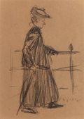 Fine Art - Painting, Russian, WILLIAM JAMES GLACKENS (American, 1870-1938). Figure withUmbrella. Charcoal on paper. 7-1/2 x 5-3/8 inches (19.1 x13.7...