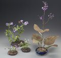 Decorative Arts, Continental, A GROUP OF FOUR VASSILASKI PANAYOTIS TAKIS ENAMELED METAL ANDCLOISONNÉ FLORAL PLANTS, circa 1989. Marks: Takis, September...(Total: 4 Items)