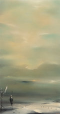 Fine Art - Painting, American, ROBERT WATSON (American, 1923-2004). Distance. Oil onMasonite. 16 x 9 inches (40.6 x 22.9 cm). Signed lower right: RWa...