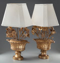 Decorative Arts, Continental:Lamps & Lighting, A PAIR OF ITALIAN CARVED GILTWOOD URN-FORM LAMPS WITH FABRICSHADES, early 20th century. 35-1/4 inches high (89.5 cm). ...(Total: 4 Items)