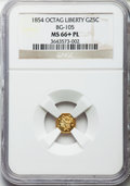 California Fractional Gold , 1854 25C Liberty Octagonal 25 Cents, BG-105, R.3, MS66+ ProoflikeNGC....